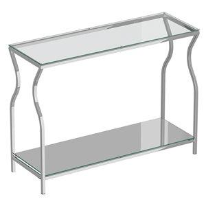 Console !nspire contemporaine en métal à deux tablettes avec verre réfléchissant, chrome, 13 po x 42 po x 30.25 po