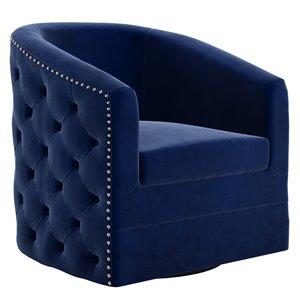 Chaise d'appoint !nspire pivotante rembourrée et revêtue de velours bleu