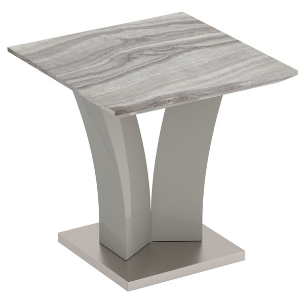 !nspire Contemporary Faux Marble Accent Table in Gray - 23.75-in