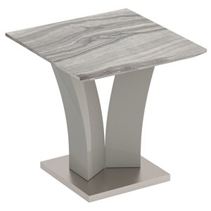Table d'appoint !nspire contemporaine en simili-marbre, grise, 23.75 po