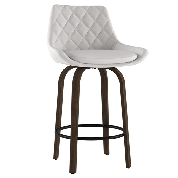 !nspire Kenzo Modern Upholstered Counter Stool - White - 26-in - Set of 2