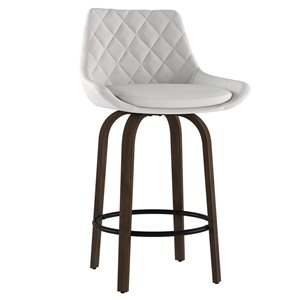 !nspire Kenzo Modern Upholstered Counter Stool - White - 26-in - Set of 3