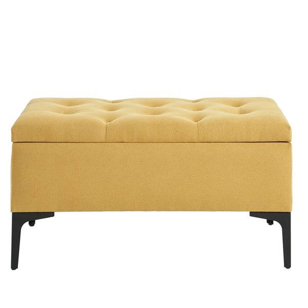 !nspire Upholstered Storage Ottoman - Mustard and Black - 17.25-in x 35.5-in