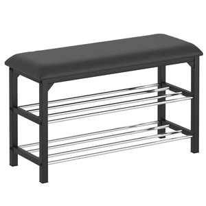 WHI 2 Tier Shoe Bench - Chrome and Black - 11.5-in x 30-in