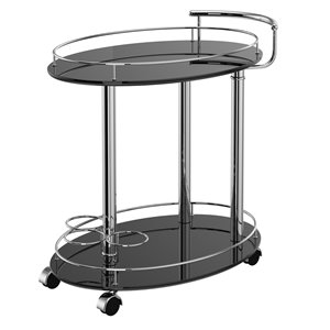 WHI Contemporary 2 Tier Bar Cart - Black - 29.5-in x 19-in