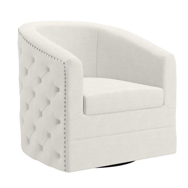 !nspire Contemporary Swivel Velvet Upholstered Accent Chair - Ivory