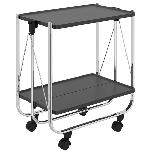 WHI 2 Tier Folding Bar Cart - Black and Chrome - 26.5-in x 15.75-in