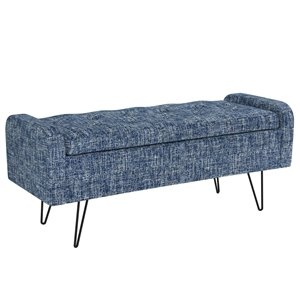 !nspire Upholstered Storage Ottoman - Blue and Black - 15.5-in x 39.5-in
