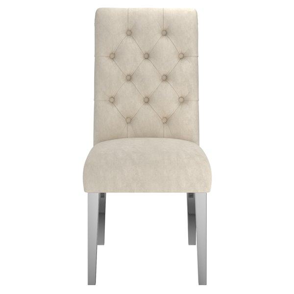 !nspire Chloe Velvet Upholstered Side Chair - Beige - Set of 2