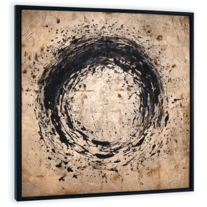 Toile décorative murale Splatter Gild Design House, or et cercles noirs, 48 po x 48 po