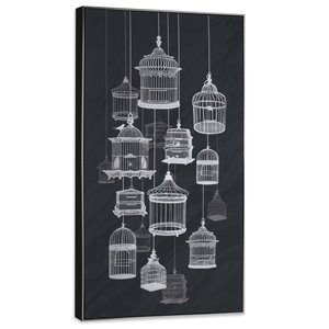 Gild Design House Sterling Wall Art - Black and White Bird Cages - 57-in x 29-in