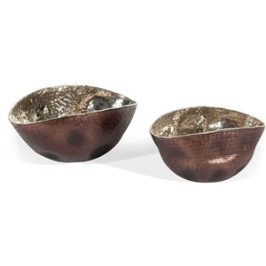 Gild Design House Athena Bowls - Bronze and Silver - Set of 2