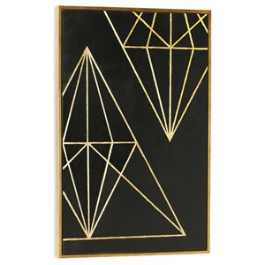 Gild Design House Structure I Wall Art - Gold Diamonds and Black - 28-in x 38-in