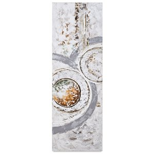 Gild Design House Continunation Il Abstract Wall Art - Pastel Greens/Reds/Silver Leafing - 72-in x 24-in
