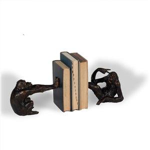 Gild Design House Mischievous Monkeys Bookends - Antique Bronze