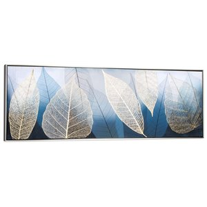 Gild Design House Golden Foliage Wall Art - Blue and Black Frame - 21-in x 61-in