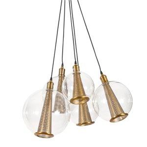 Lustre suspendu Alessa Gild Design House, 5 lumières, or et verre clair