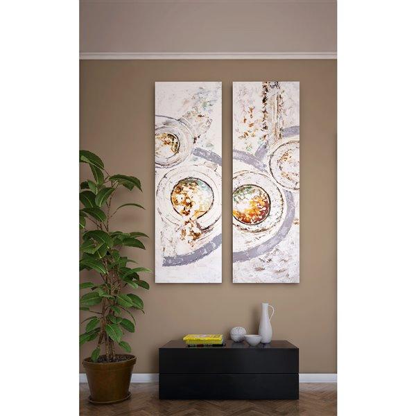 Toile murale Suite I Gild Design House peinte à la main, verts pastel/rouges/feuilles d'argent, 72 po x 24 po