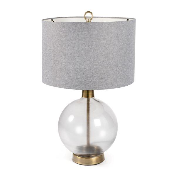 Lampe de table Gild Design House Kadir, grise et base en verre, 23 po