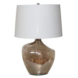 Lampe de table Gild Design House Mabyn, base en verre et abat-jour blanc, 28 po