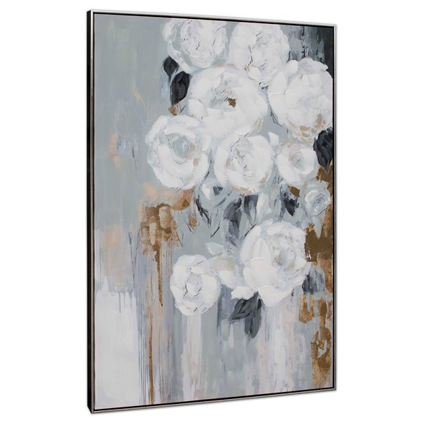 Gild Design House Wall Art - White Flowers - Gray and Black - 49-in x 33-in