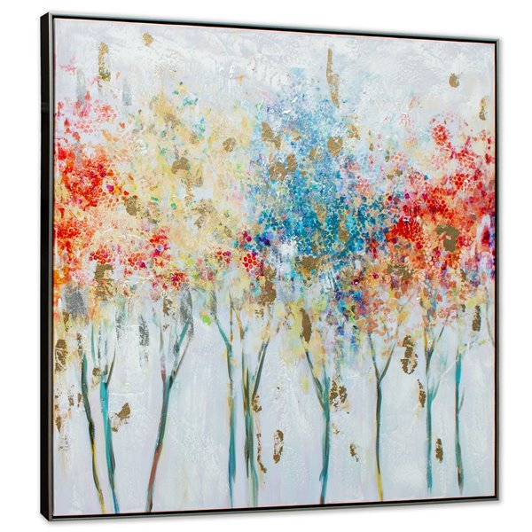 Gild Design House Autumn Trees Wall Art - Multiples Colours and Black Frame - 40-in x 40-in