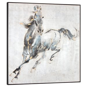 Gild Design House Prancing Stallion Horse Wall Art - Blue and Black - 50-in x 50-in