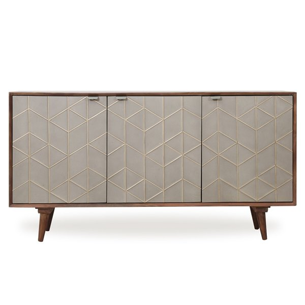 Gild Design House Mackenzie Sideboard - Solid Wood with concrete look - 57-in