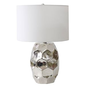 Lampe de table Gild Design House Japhy, argent et abat-jour argent, 25 po