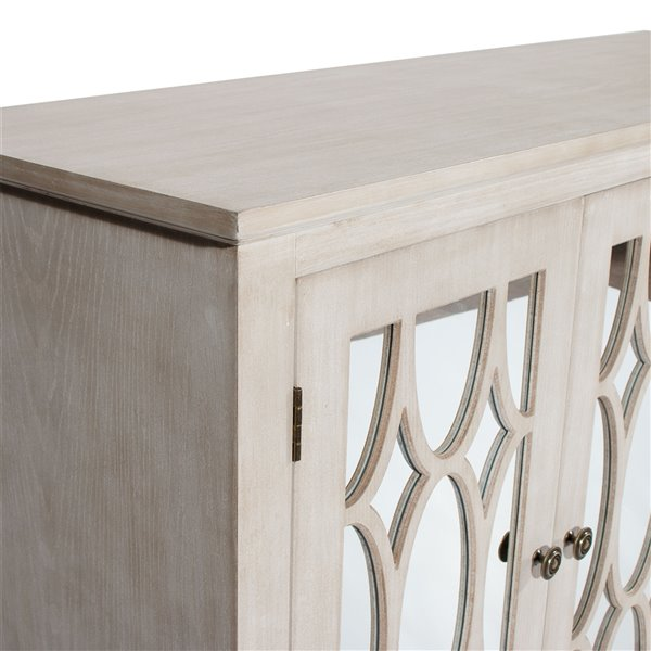 Gild Design House Carina Mirrored Sideboard - 3-Door - White/Gray - 32-in x 47-in