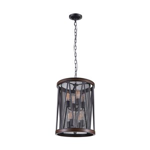 CWI Lighting Parsh 8-Light Drum Shade Chandelier with Pewter finish - 33-in x 23-in