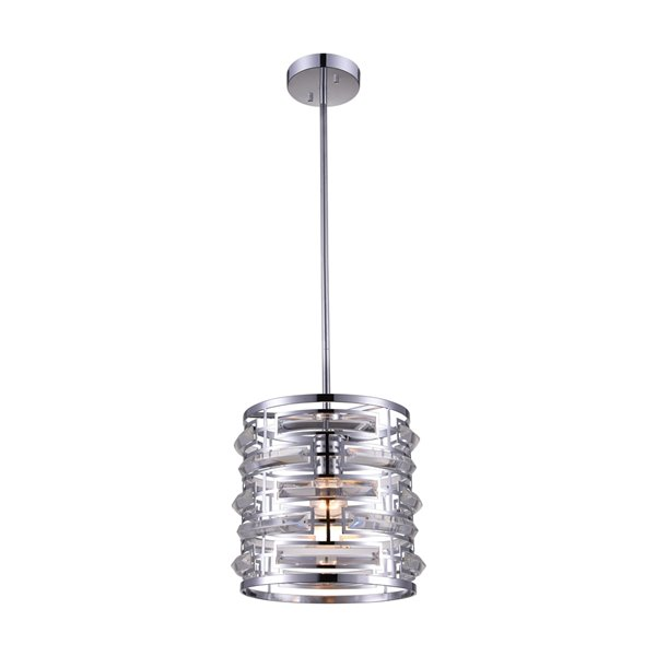 CWI Lighting Petia 1-Light Drum Shade Chandelier with Chrome Finish