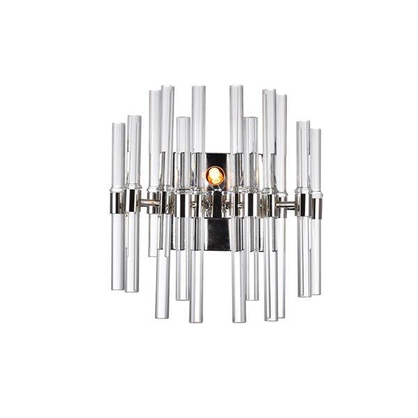 CWI Lighting Miroir 2-Light Wall-Light with Polished Nickel Finish