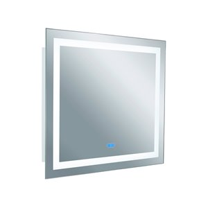 CWI Lighting Abril Rectangular Mirror with LED Light - 40-in x 36-in - Matte White