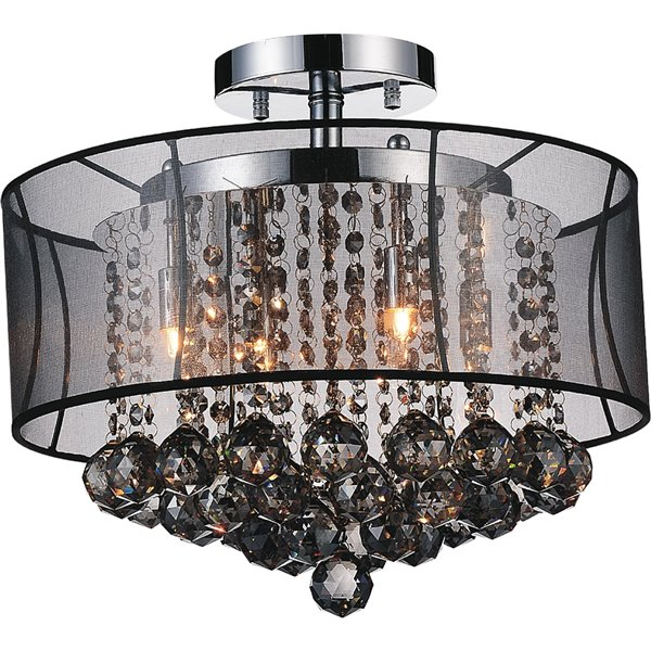CWI Lighting Radiant Flush-Mount Light - 6-Light - Chrome/Smoke/Black