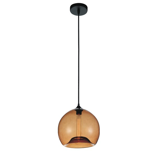 CWI Lighting Glass Mini Pendant Light - 1-Light - Transparent Amber - 12-in