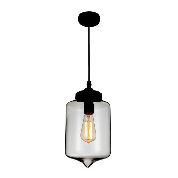 CWI Lighting Glass Mini Pendant Light - 1-Light - 7-in - Black/Smoke Glass