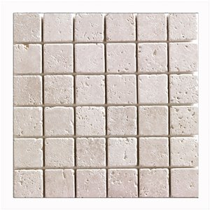 Mono Serra Tumbled Marble 12'' x 12'' Travertino Ivory 2-in x 2-in 10 sq. ft / case