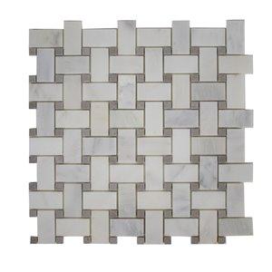 Tuile marbre Mono Serra 12 po x 12 po  Basketwave Mosaique 10 pi2 / boite (10mcx / boite)