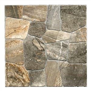 Tuile porcelaine Mono Serra 17 po x 17 po Collage Alpine Stone 14.33 pi2  / boite