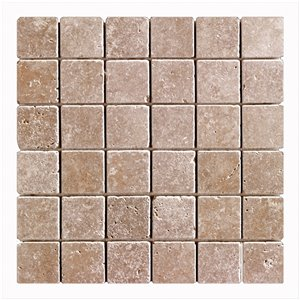 Mono Serra Tumbled Marble 12'' x 12'' Travertino Noce 2-in x 2-in 10 sq. ft / case