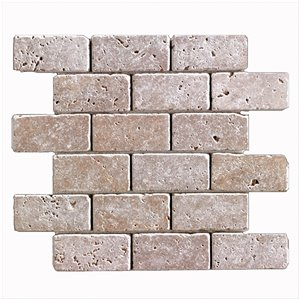 Mono Serra Tumbled Marble 12'' x 12'' Travertino Noce 2-in x 4-in 10 sq. ft / case
