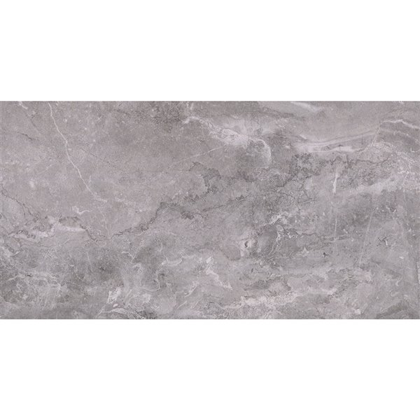 Mono Serra Porcelain Tile 12-in x 24-in Excalibur Dark Gray 14.21 sq.ft. / case (7 pcs / case)
