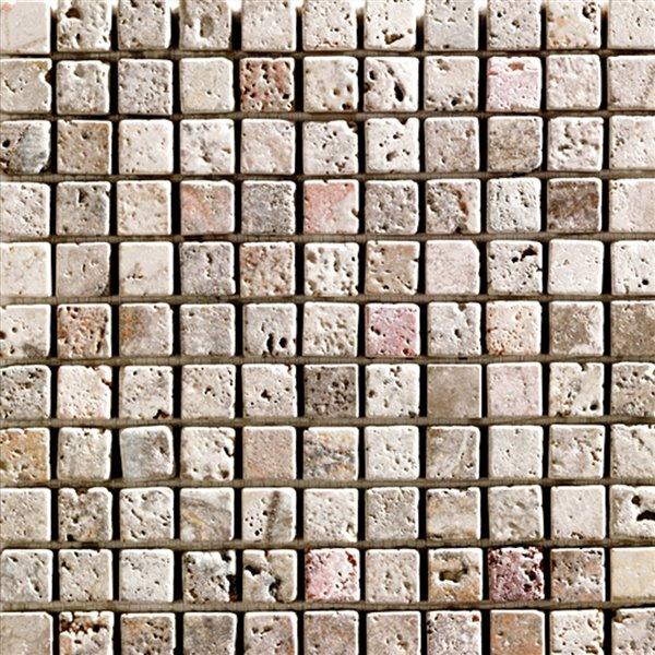 Mono Serra Tumbled Marble 12'' x 12'' Travertino Scabas 1-in x 1-in 10 sq. ft / case