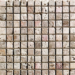 Marbre baratté  Mono Serra 12 po x 12 po Travertino Scabas 1 po x 1 po 10 pi2 (10 mcx / boite)