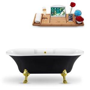 Baignoire sur pattes ovale en acrylique de Streamline, trop-plein intégré doré, 34 po x 68 po, noir lustré