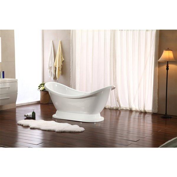 Streamline Freestanding Oval Bathtub - 29-in x 69-in - Glossy White Acrylic
