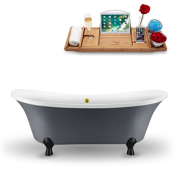 Streamline Freestanding Oval Clawfoot Bathtub - 34-in x 68-in - Glossy Grey Acrylic