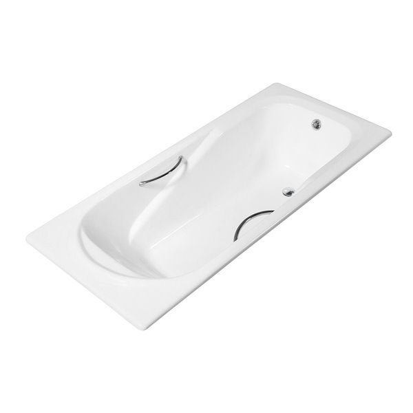 Streamline Drop-In Rectangular Bathtub - Reversible Drain - 30-in x 59-in - Glossy White Cast Iron