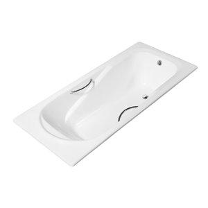 Baignoire en fonte encastrée rectangulaire de Streamline, 30 po x 59 po, blanc lustré